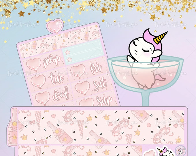 Last Day! Pink Bubbly Extras - Add On Washi OR Date Covers Mini Sheets