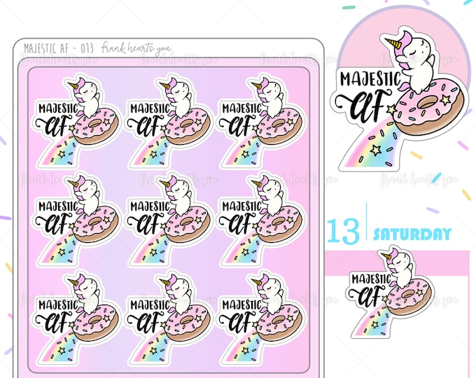 Majestic AF! - Sprinkles Flying Donut Planner Stickers - 013