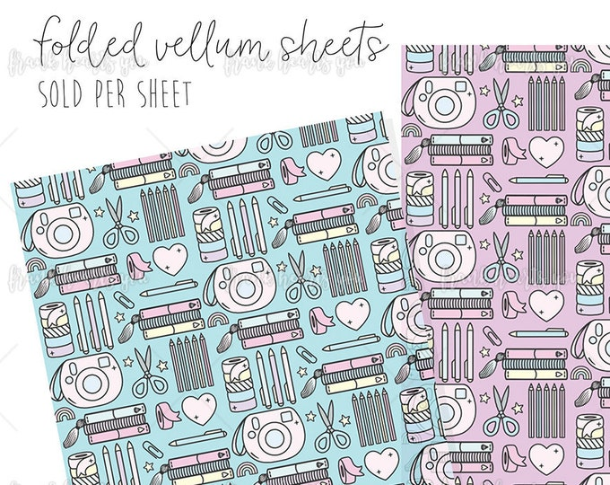 Folded Vellum - Crafty Pattern - SELECT YOUR SHEETS!