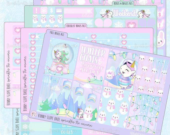 Bunny Slope Babe Functional Format - EC Vertical - Sprinkles the Unicorn - Planner Sticker Set