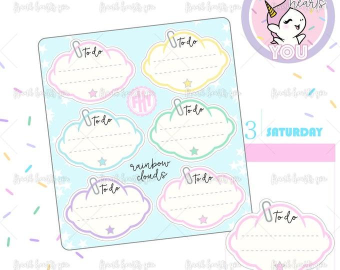 Puffy Rainbow Cloud Stickers - Mini Sheet