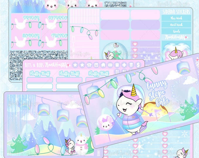 Bunny Slope Babe Planner Sticker Set - Full-Cover EC Vertical - 6 Sheets