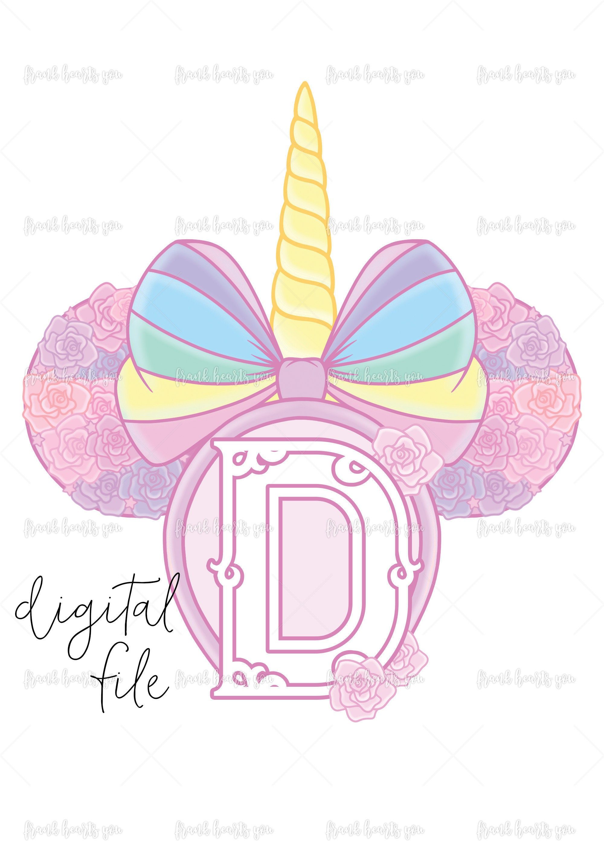 Letter D - DIGITAL - NO Physical Product - Rainbow Rose Monogram ...