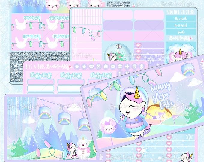 Bunny Slope Babe Planner Sticker Set - Full-Cover - 6 Sheets