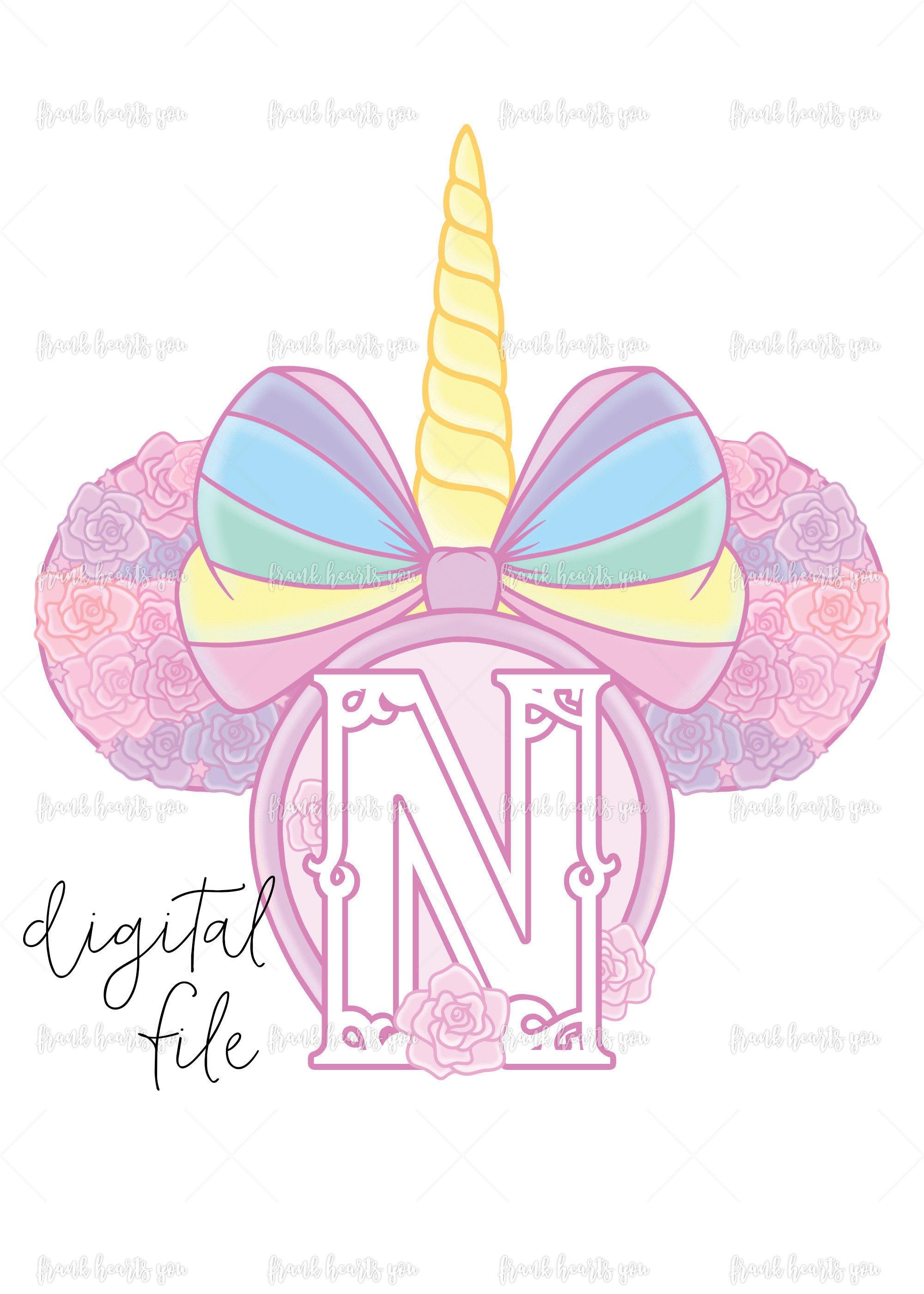 Letter N - DIGITAL - NO Physical Product - Rainbow Rose Monogram ...