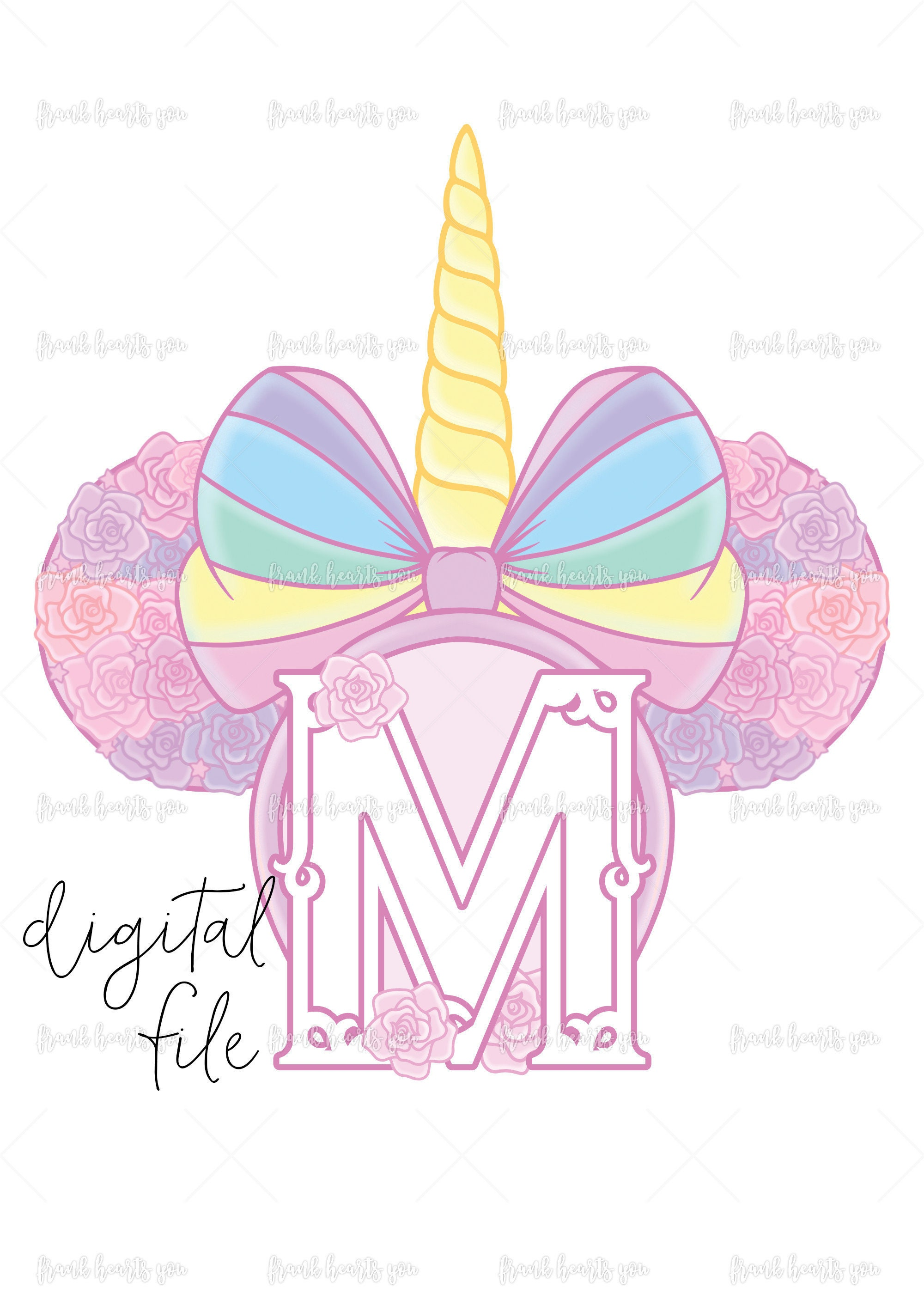 Letter M - DIGITAL - NO Physical Product - Rainbow Rose Monogram ...