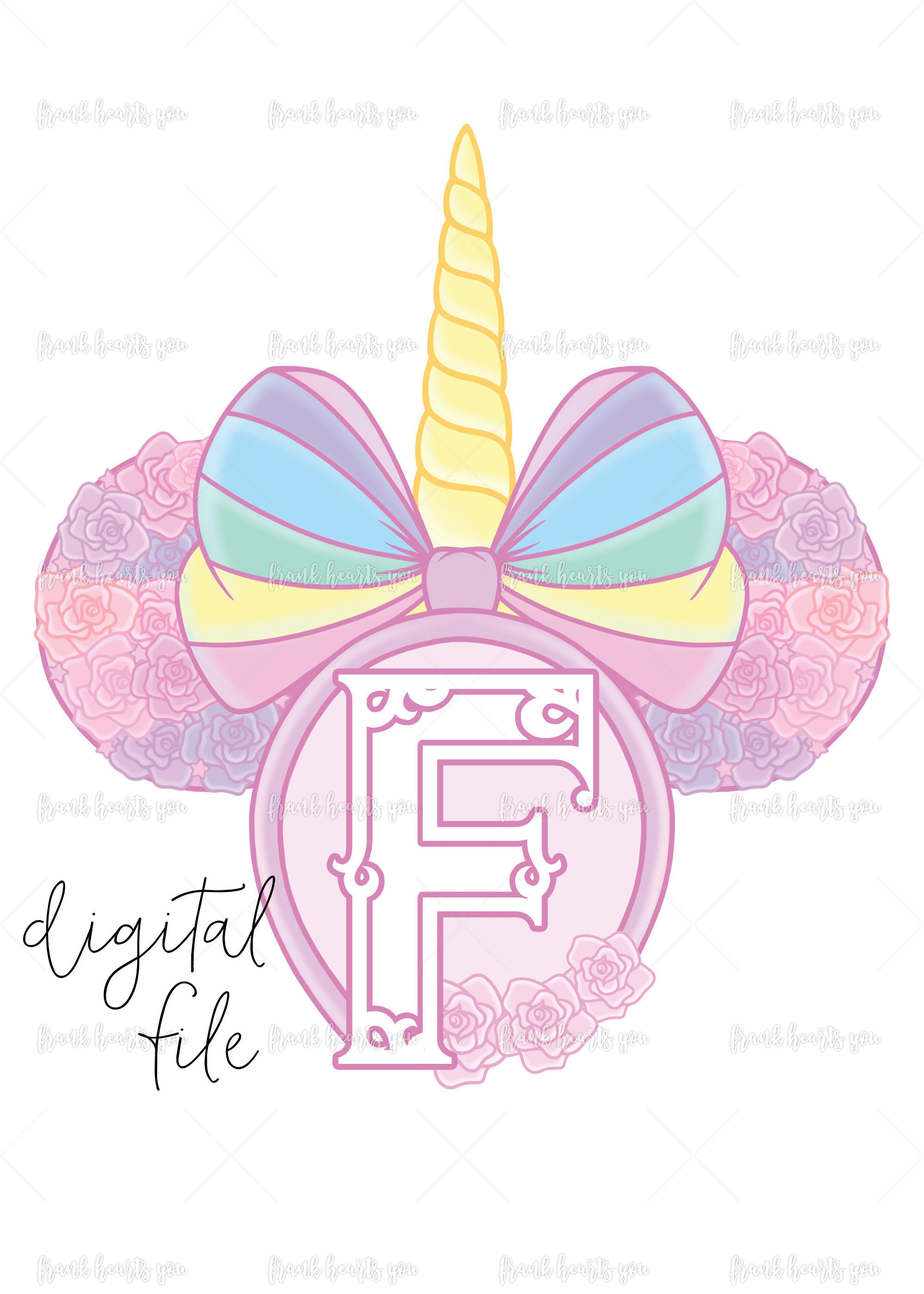 Letter F - DIGITAL - NO Physical Product - Rainbow Rose Monogram ...