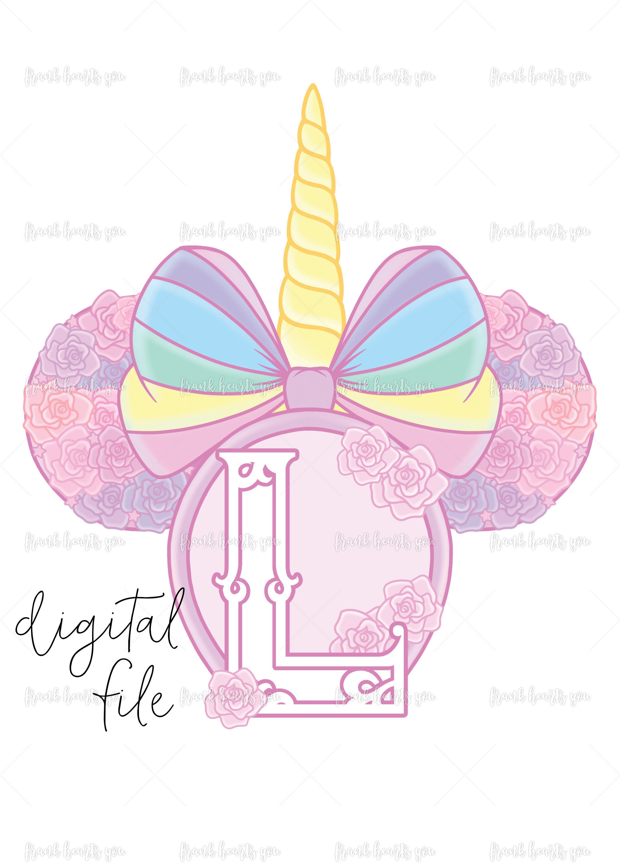 Letter L - DIGITAL - NO Physical Product - Rainbow Rose Monogram ...