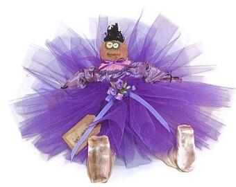 Ballerina Doll, Primitive Ballerina, Primitive Decor, Primitive Doll, Primitive Ballerina Doll, Purple Tutu, Dancer Doll, Primitive Dancer