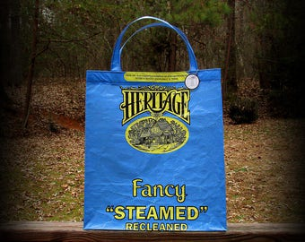 Blue Tote Bag, Oats Tote, Heritage Tote, Blue and Yellow, Recycled Feed Bag, Feedsack Tote, Grocery Bag, Feedsack Bag, Feed Sack Tote, Upcyc