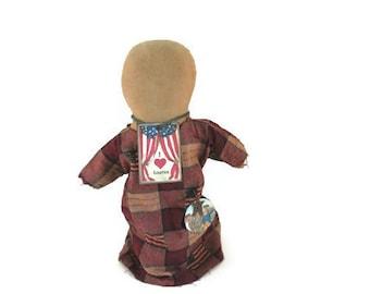 July 4th Doll, Patriotic Doll, USA Doll, Primitive Doll, Flag Prim Doll, Faceless Prim Doll, Church Doll, Red White Blue, American Flag