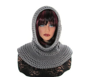 Gray Hooded Scarf, Mens Neck Scarf, Gray Cowl, Womens Scarf, Grey Scarf, Medieval Cowl, Gray Neckwarmer, Renaissance, Winter Fashion, Silver