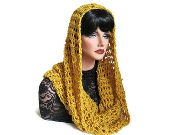 Gold Infinity, Citrine Neckwarmer, Mens Scarf, Mustard Cowl, Womens Scarf, Medieval Scarf, Hooded Scarf, Renaissance, Gold Scarf, Crochet