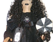 Gothic Doll, Shirley Temple Doll, Creepy Doll, Scary Gothic, Goth Doll, Black Dress Doll, Doll Lollypop, Black and White, Spider Web, Mary