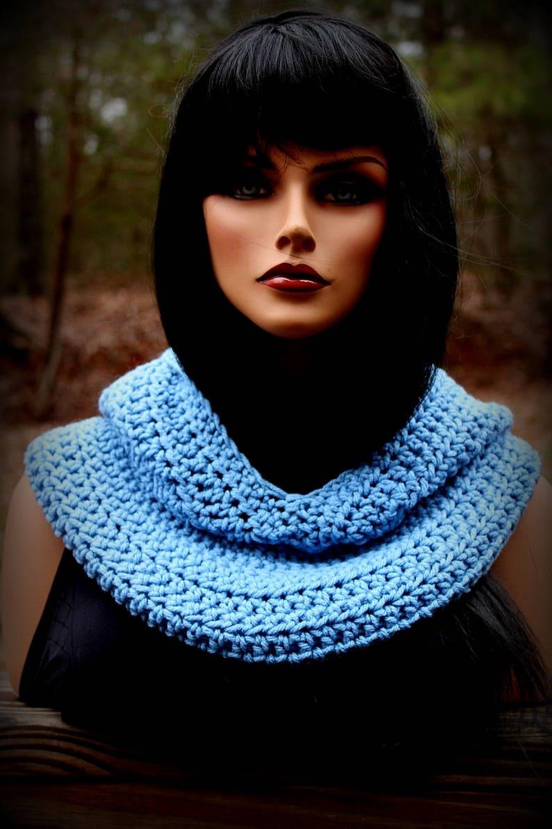 Fishermans Hood Hooded Scarf Women Scarf Crochet Scarf Medium Blue Med Blue Light Blue Mens Scarf Snood Med Blue Scarf Blue Scarf