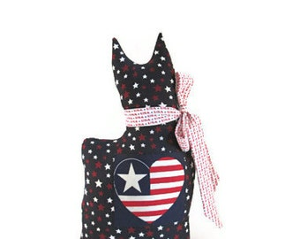 Patriotic Decor, Patriotic Pillow, Patriotic Cat Pillow, Red White Blue, Cat Doll, 4th July Decor, Stars and Stripes, American Flag, Shelf