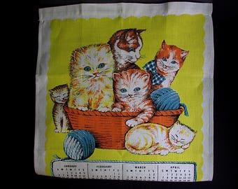 Parisian Prints Linen, Linen Tea Towel, 1974 Calendar, Kitten Calendar, Vintage No Label, Yellow and White, Linen Calendar, 27 in x 16 in