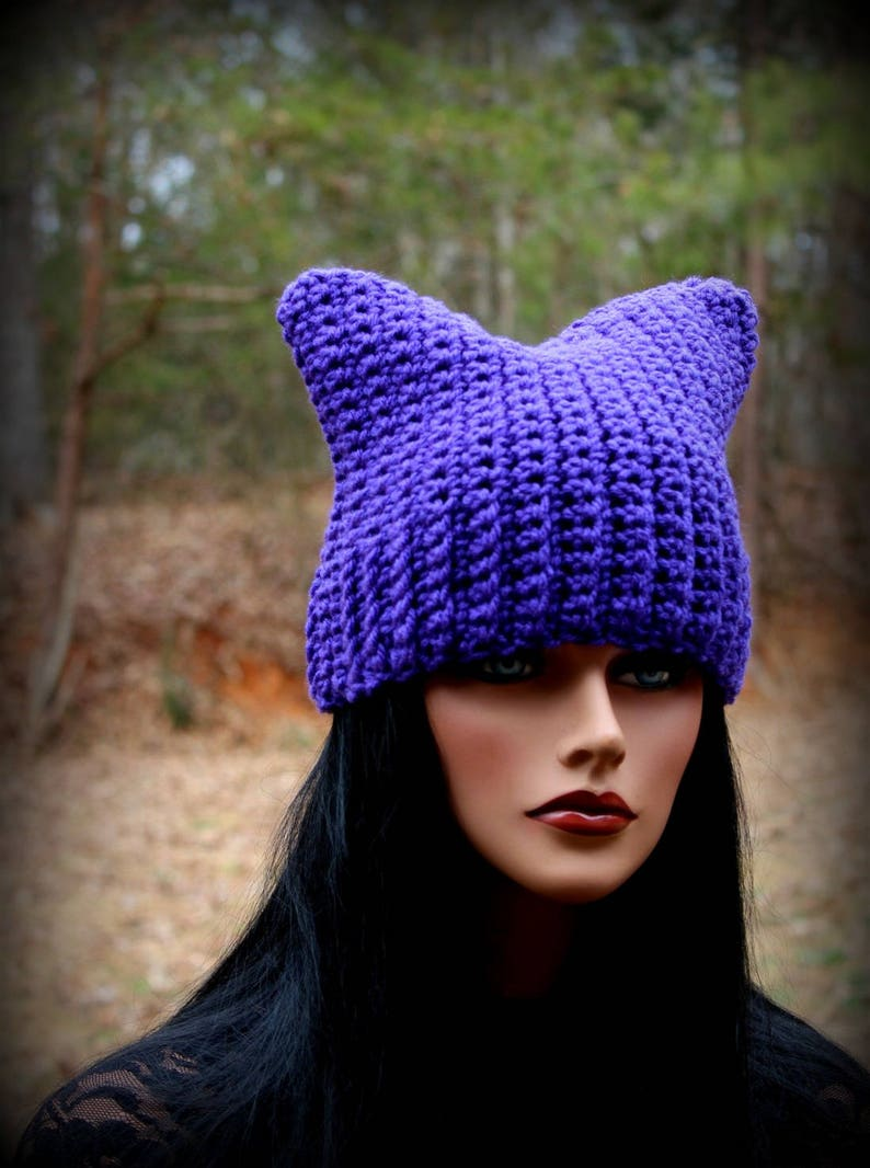 9346bc8efda55 Purple Cat Hat Purple Beanie Womens Cat Hat Cat Ears Hat