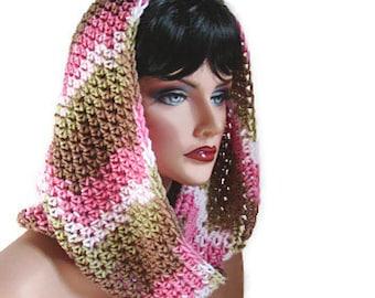 Infinity Camo, Pink Camo Scarf, Camo Neckwarmer, Womens Scarf, Camo Cowl, Pink Camo, Pink and Green, Crochet Scarf, Knit Scarf, Camo Muffler