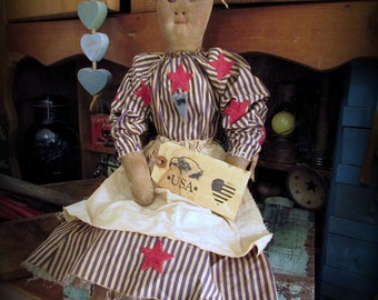 Patriotic Doll, Americana Doll, White Hair Doll, Primitive Doll, Country Rag Doll, Primitive Shelf Sit, Stars and Stripes, Wood Heart Button