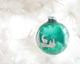 vintage Christmas balls-Christmas photography - winter decor- holiday photo- vintage Christmas ornament- reindeer ornament -  FREE Shipping