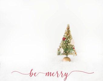 vintage Christmas tree-Christmas photography - be merry - holiday photo- Christmas - Original fine art photography print -  FREE Shipping