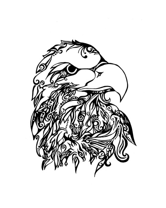 Águila calva tribal Print | Etsy