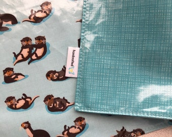 Waterproof Reversible Travel PlaceMat with Playful Otters, BPA Free laminated cotton NOT oilcloth, Easy to pack, Give yourself a clean zone