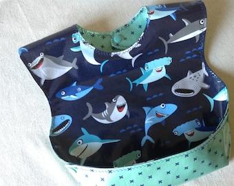 Kamani Designs Snappy Pocket Bib, Laminated Cotton fabric not oilcloth, Shark Bib, Sharktown by Riley Blake, BPA and phthalate Free Wipeable