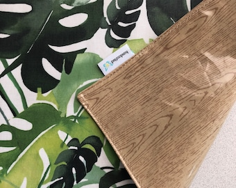 Waterproof Reversible Travel PlaceMat, Matte Boho Monstera Leaf, BPA Free laminated cotton NOT oilcloth, Easy pack, Give yourself clean zone