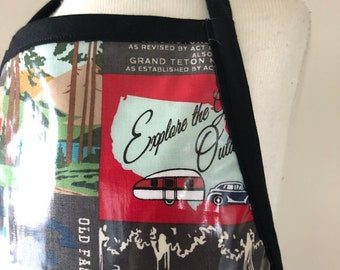 Waterproof Apron for Children, BPA free cotton laminate, Explore, buffalo check, camper, Size adjustable straps, craft, play, cook, create