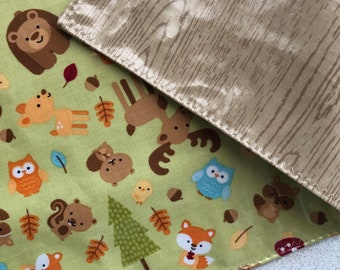 Seconds Waterproof Reversible Travel PlaceMat Forest Animals, BPA Free laminated cotton NOT oilcloth, Easy pack, Give yourself a clean zone