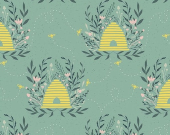 Waterproof Splat Mat, Harmony bee hives in seafood green background Art Mat, kid mat, TableCloth , BPA Free, NOT oilcloth