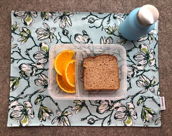 Waterproof Reversible Travel PlaceMat in Blue Magnolia, BPA Free laminated cotton NOT oilcloth, Easy to pack, Give yourself a clean zone