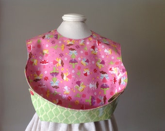 Little Girl's Bib sweet fairies pink background Snappy Pocket Bib, Waterproof Bib Laminated Cotton, adjustable snaps, BPA FREE, Not Oilcloth