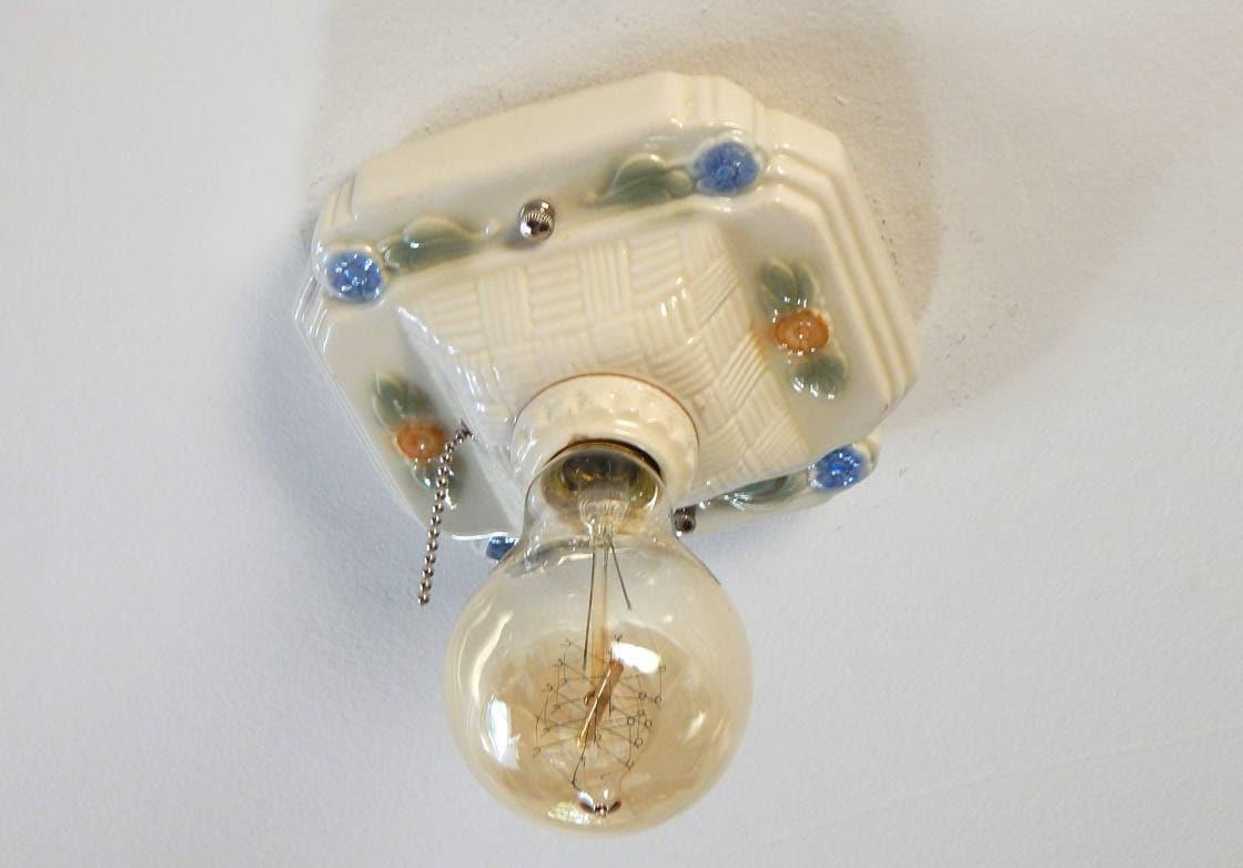 Flush Mount Porcelain Pull Chain Ceiling Light Fixture   Etsy