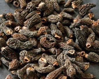 1.1oz / 30g Dried Wild Morels - Raw, Naturally Organic, Sustainably Harvested Montana Mushrooms, Sun Dried - morchella elata MRL009