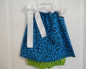 Pebbles Costume turquoise size 0-3 months through size 3 includes bone and with or without crochet headband