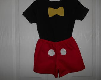 Mickey Mouse Costume black t-shirt or onesie with yellow applique bow tie ( shorts not included) size 0-3 months through size 4 & Mickey mouse costume | Etsy