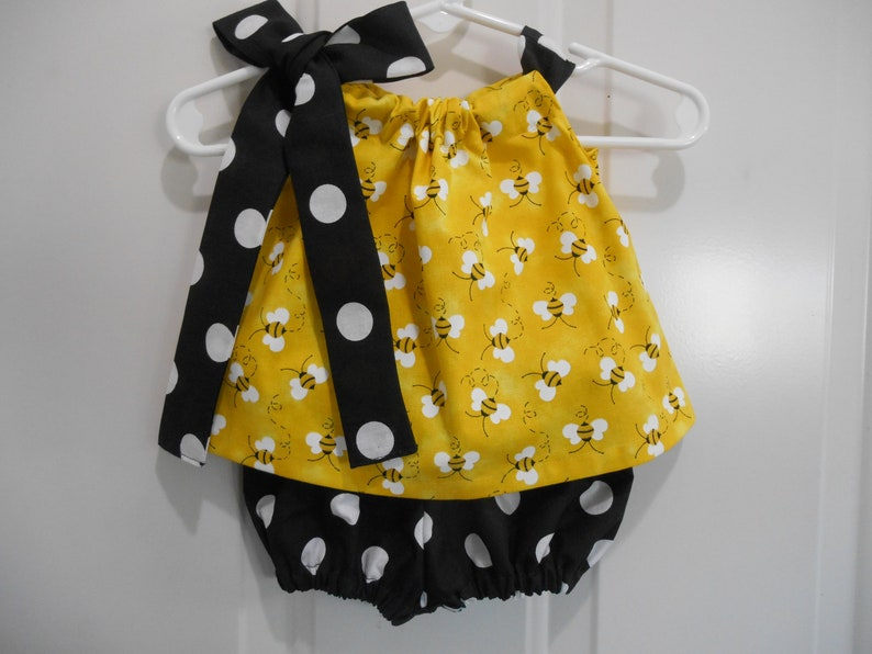 Bumble bee pillowcase top and bloomers size 0-3 months through size 3