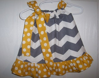 Girls chevron pillowcase dress infant  gray and white choose of color for ruffle and tie infant thru 7/8 years