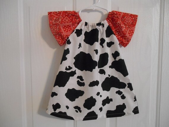 Peasant Sleeves Bandana With Or Girls Print 6 Years Infant Thru Cow Elastic Dress Flutter Pkw8On0