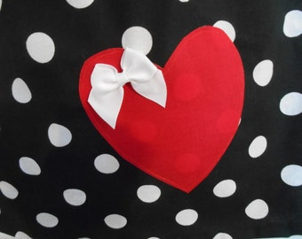 Applique add on to clothing purchased in this shop. heart applique with white bow only