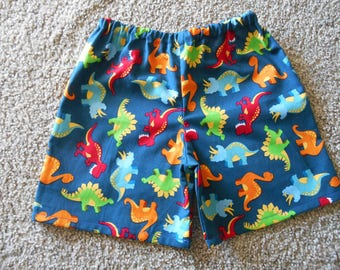 Little Boys dionsaur shorts blue red orange green infant through 5/6 years