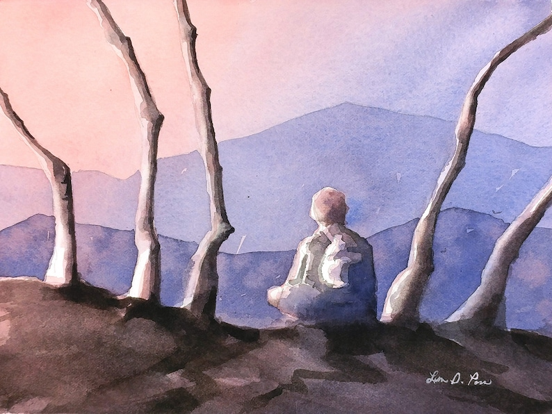Original Watercolor Painting of Sunset in the Blue Ridge image 0