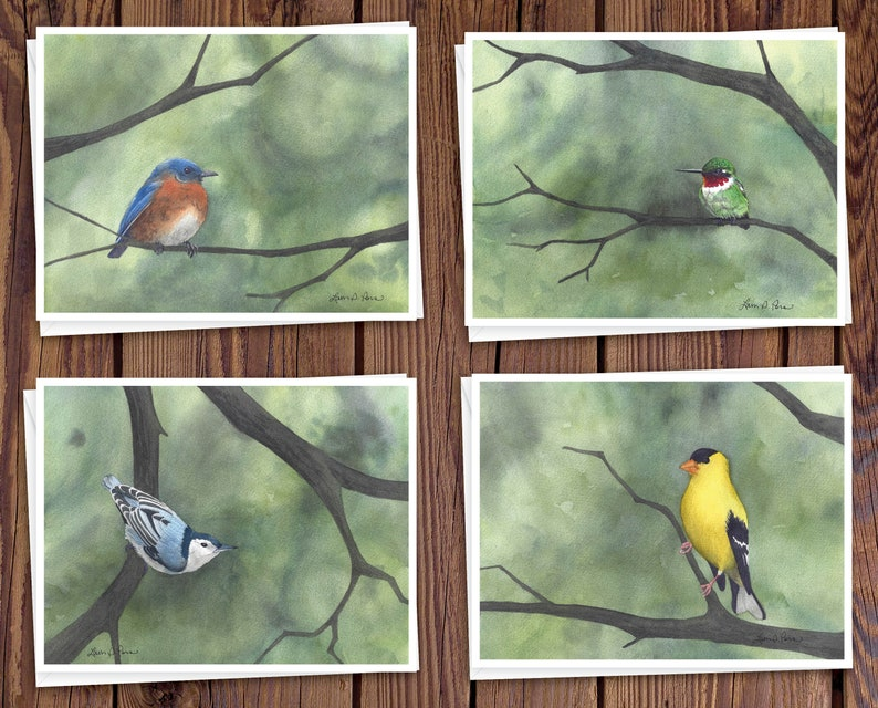8 Watercolor Note Cards with Envelopes Featuring Four image 0