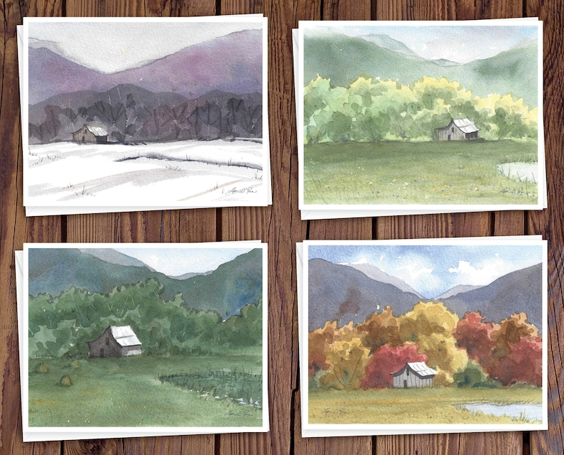 8 Watercolor Note Cards with Envelopes Featuring the Four image 0