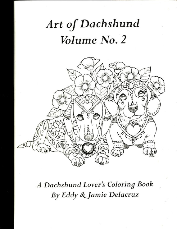 Art of Dachshund Coloring Book Volume No. 2 Physical Book   Etsy