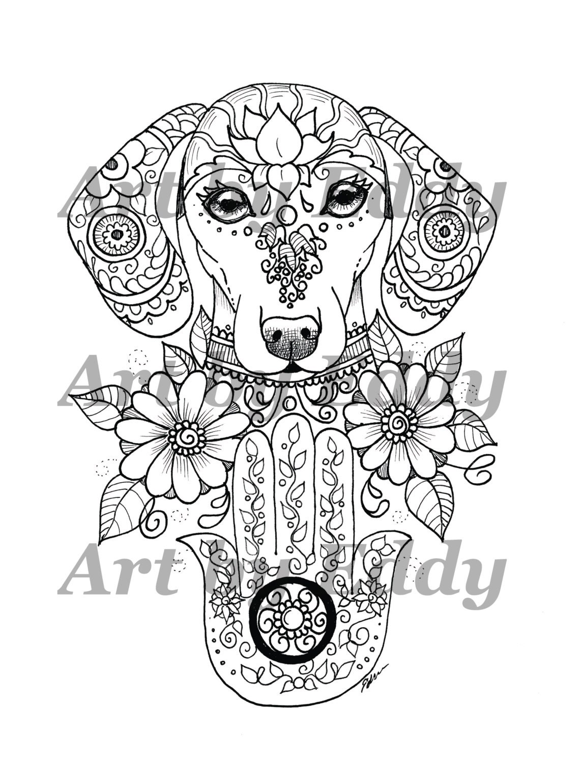 Art of Dachshund Single Coloring Page Hamsa Palm Doxie | Etsy