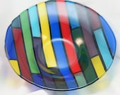 Fused Glass Bowl - Colored Planks - 15 inches